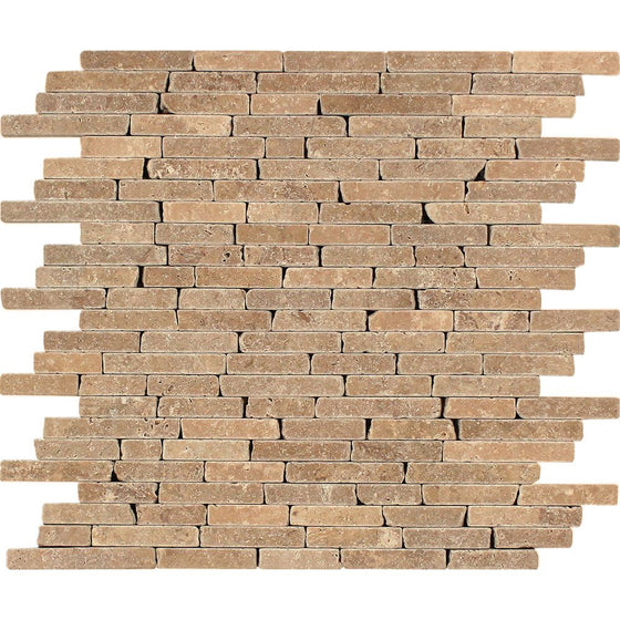 Noce Tumbled Travertine Random Strip Mosaic Tile - Tilephile