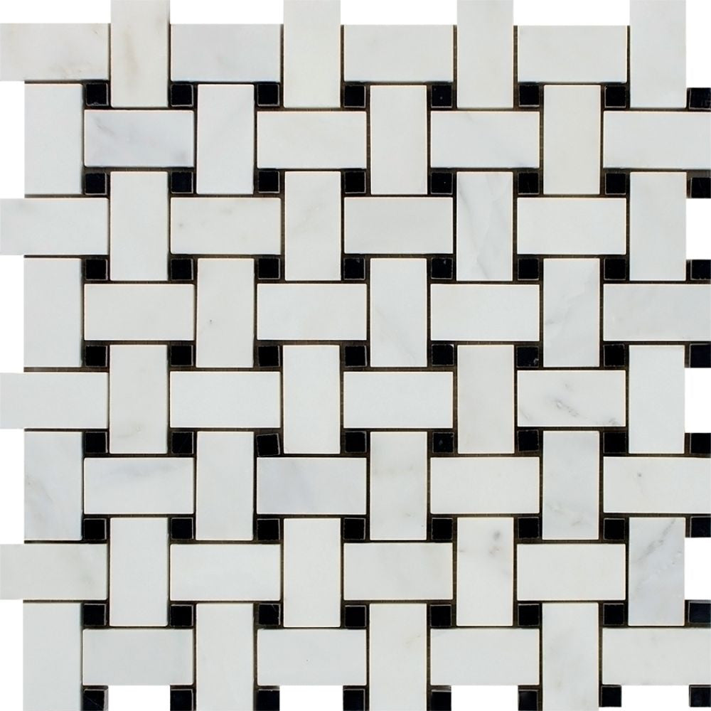 Oriental White Honed Marble Basketweave Mosaic Tile w/ Black Dots Sample - Tilephile