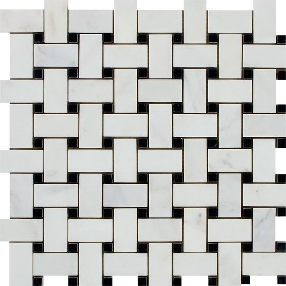 Oriental White Honed Marble Basketweave Mosaic Tile w/ Black Dots - Tilephile