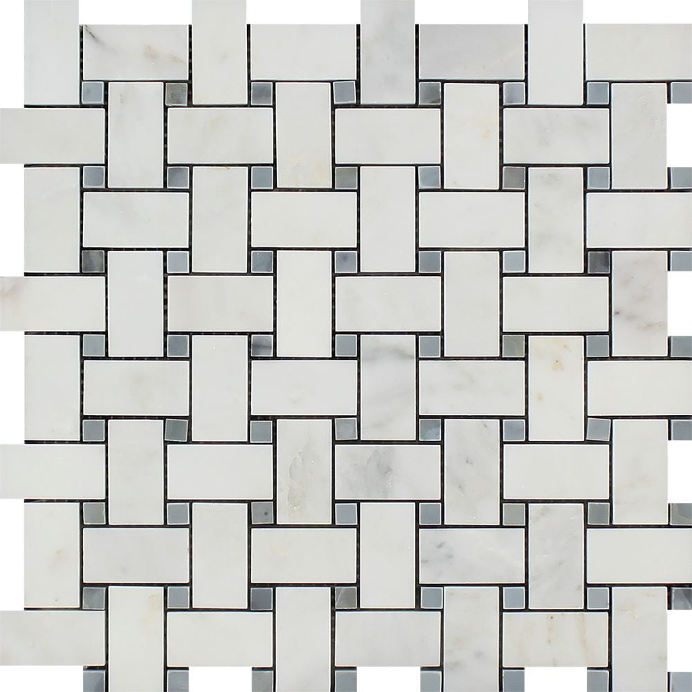 Oriental White Honed Marble Basketweave Mosaic Tile w/ Blue-Gray Dots Sample - Tilephile