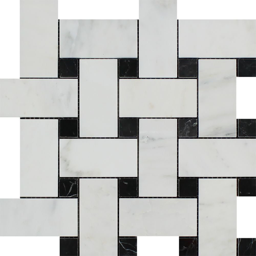 Oriental White Honed Marble Large Basketweave Mosaic Tile w/ Black Dots Sample - Tilephile