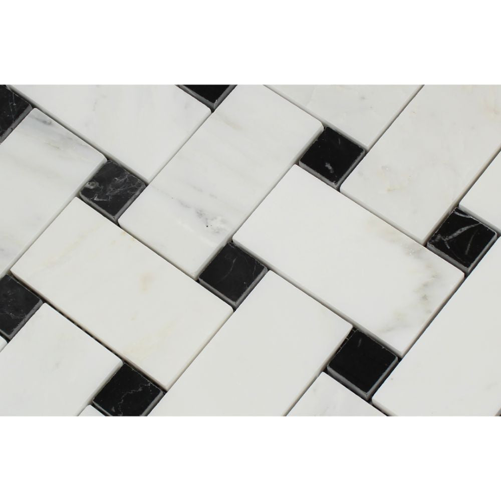 Oriental White Honed Marble Large Basketweave Mosaic Tile w/ Black Dots - Tilephile