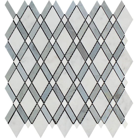Oriental White Honed Marble Lattice Mosaic Tile (Thassos + Oriental White White + Blue-Gray)