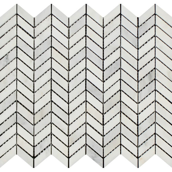 Oriental White Honed Marble Mini Chevron Mosaic Tile - Tilephile