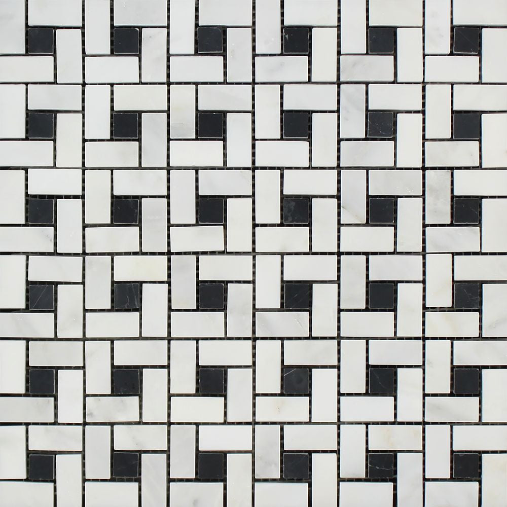Oriental White Honed Marble Mini Pinwheel Mosaic Tile w/ Black Dots Sample - Tilephile