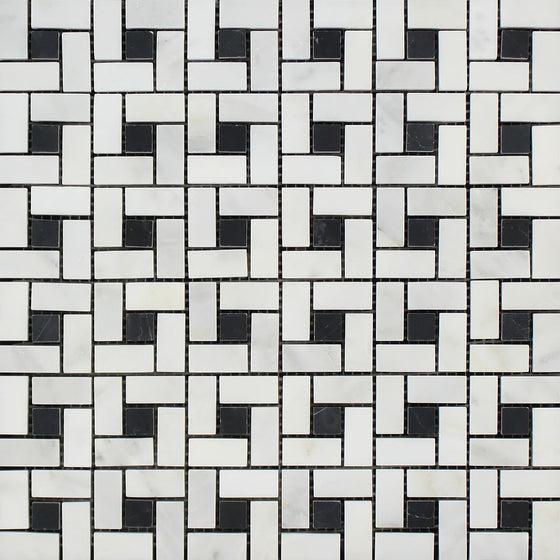 Oriental White Honed Marble Mini Pinwheel Mosaic Tile w/ Black Dots