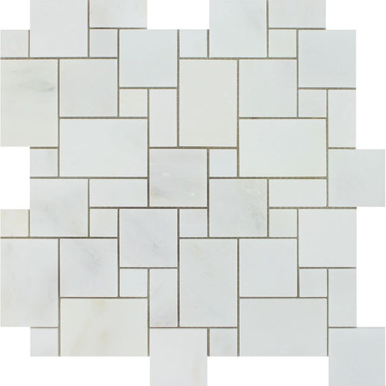 Oriental White Honed Marble Mini Versailles Pattern Mosaic Tile - Tilephile