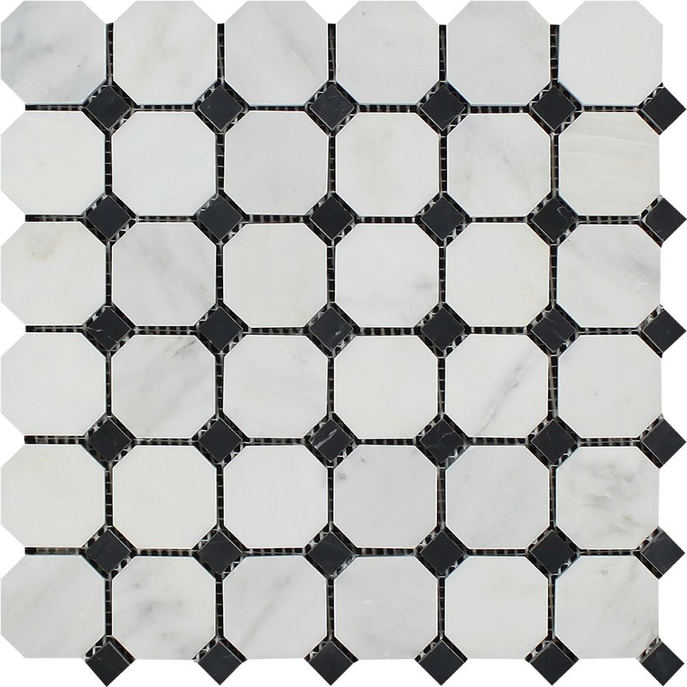 Oriental White Honed Marble Octagon Mosaic Tile w/ Black Dots Sample - Tilephile