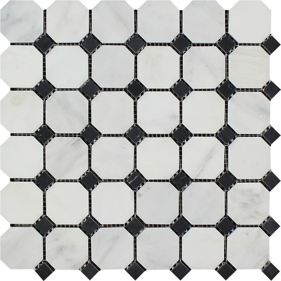 Oriental White Honed Marble Octagon Mosaic Tile w/ Black Dots - Tilephile