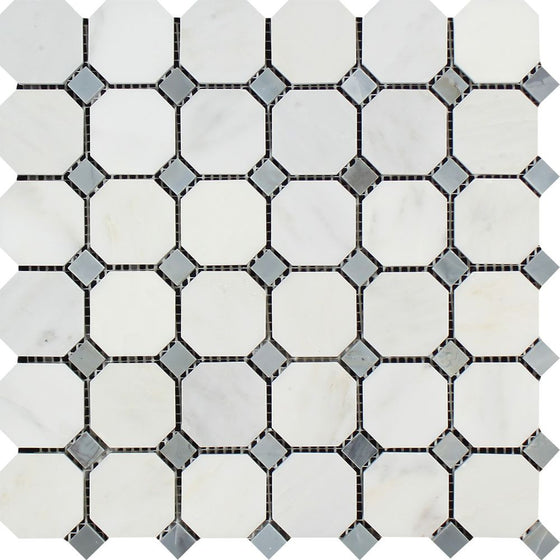 Oriental White Honed Marble Octagon Mosaic Tile w/ Blue-Gray Dots - Tilephile