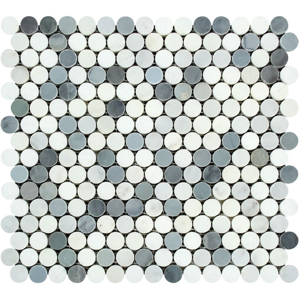Oriental White Honed Marble Penny Round Mosaic Tile (Oriental White + Thassos + Blue) Sample - Tilephile