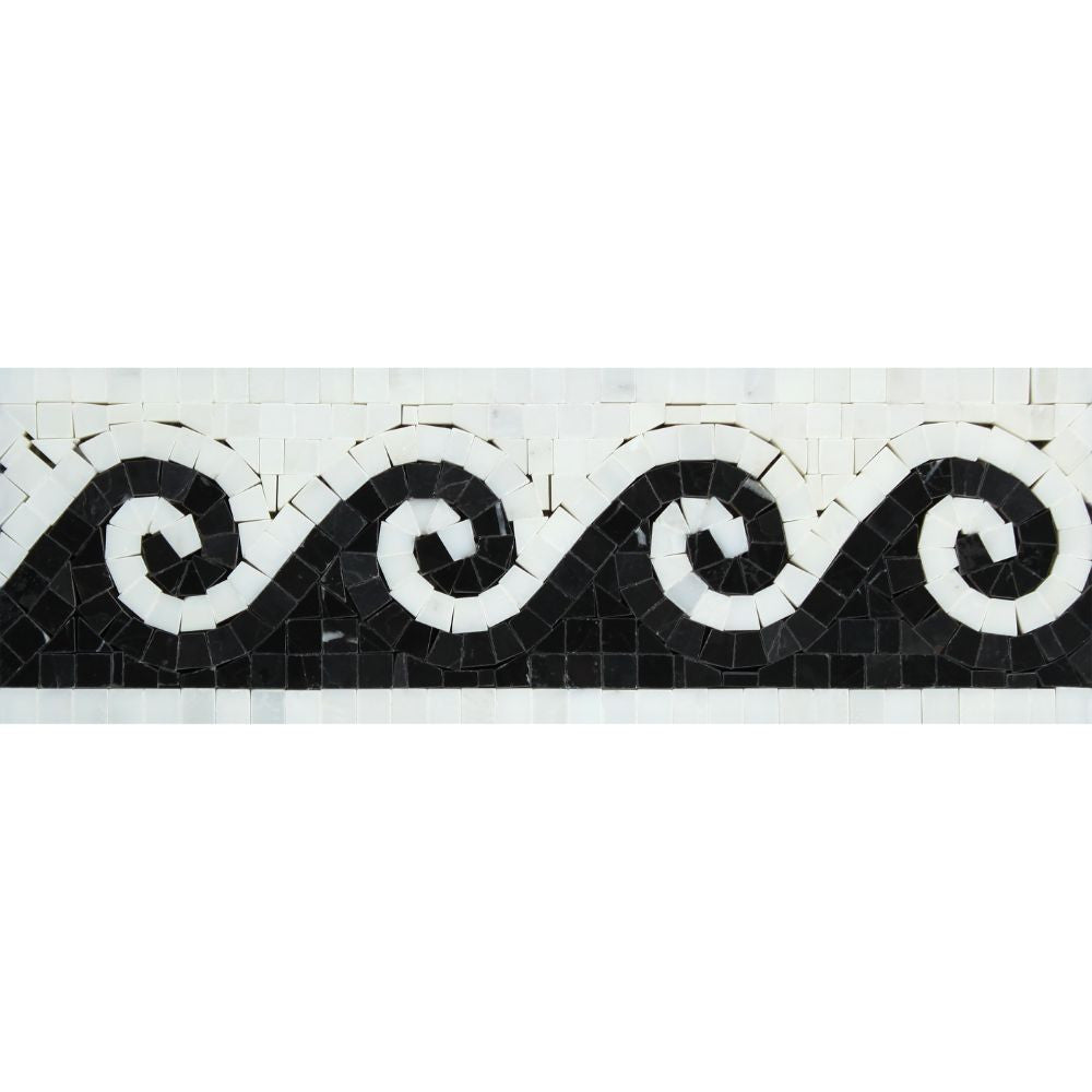 Oriental White Honed Marble Wave Border w/ Black Dots Sample - Tilephile