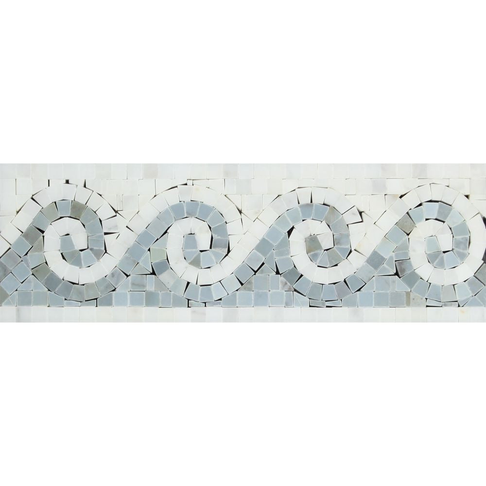 Oriental White Honed Marble Wave Border w/ Blue-Gray Dots Sample - Tilephile