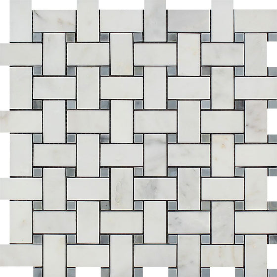 Oriental White Polished Marble Basketweave Mosaic Tile w/ Blue-Gray Dots - Tilephile
