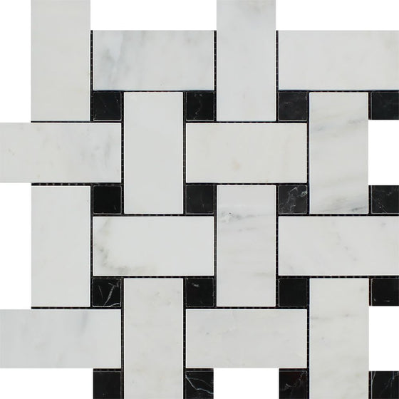 Oriental White Polished Marble Large Basketweave Mosaic Tile w/ Black Dots - Tilephile