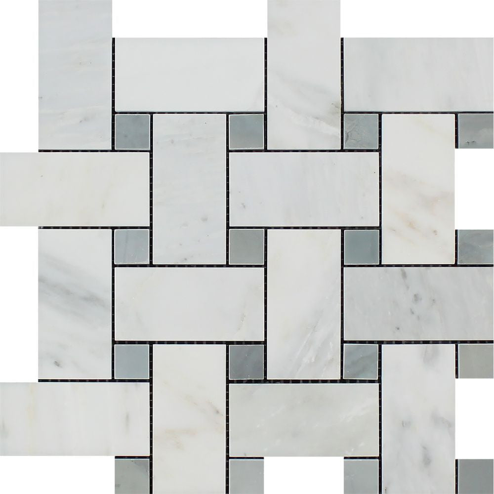 Oriental White Polished Marble Large Basketweave Mosaic Tile w/ Blue-Gray Dots Sample - Tilephile
