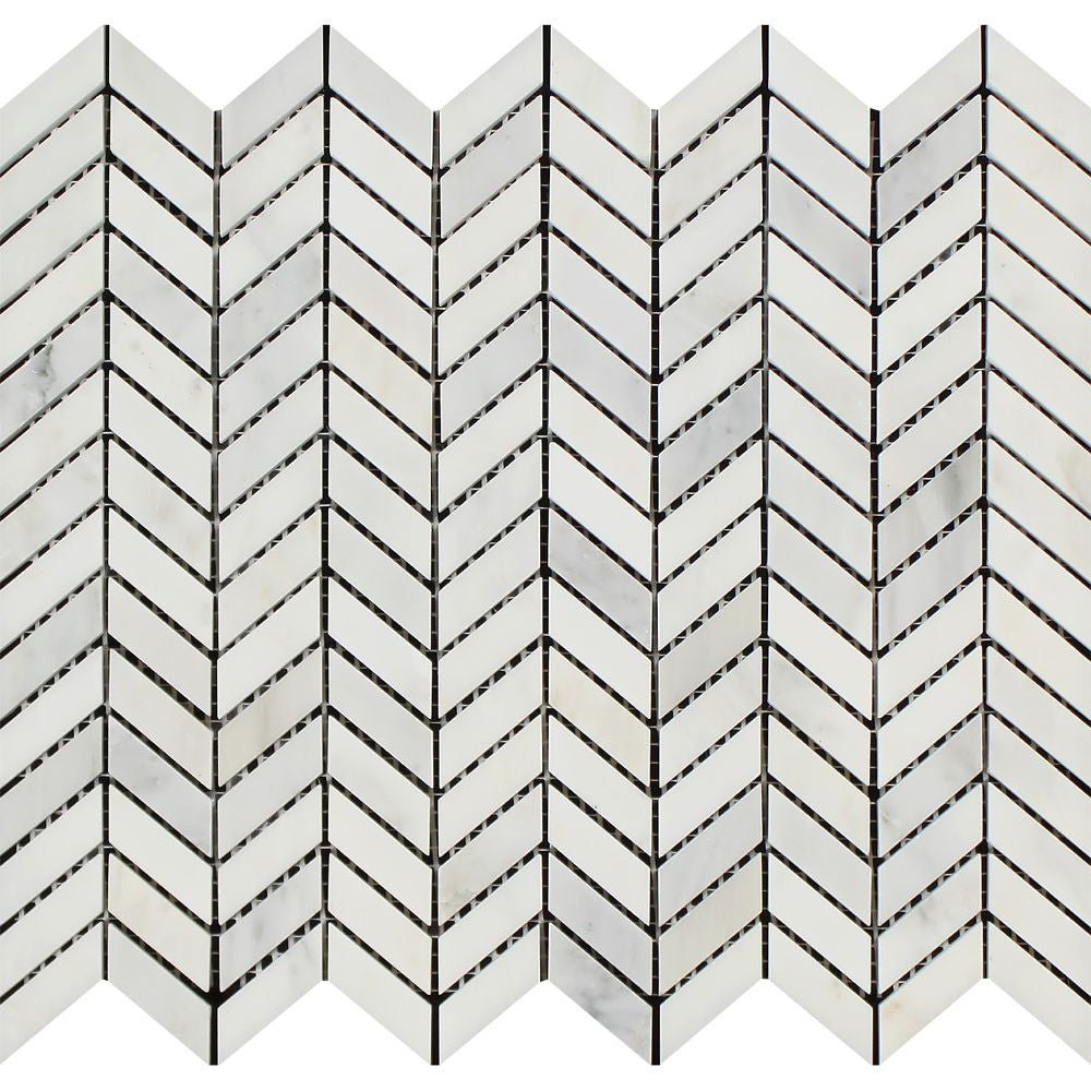 Oriental White Polished Marble Mini Chevron Mosaic Tile Sample - Tilephile