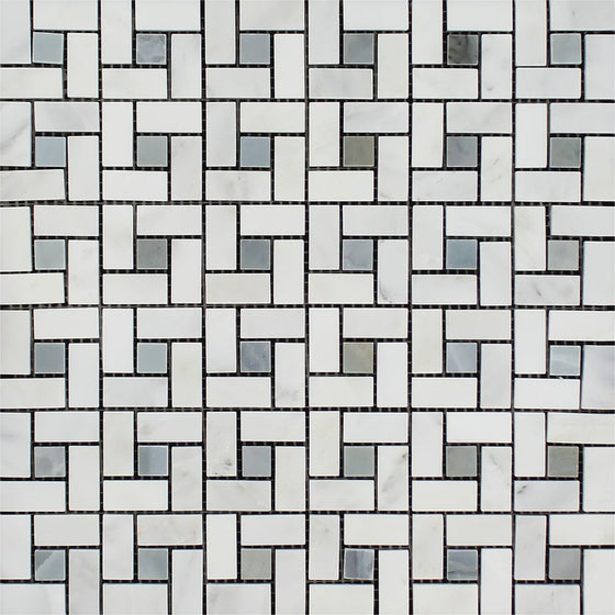 Oriental White Polished Marble Mini Pinwheel Mosaic Tile w/ Blue-Gray Dots