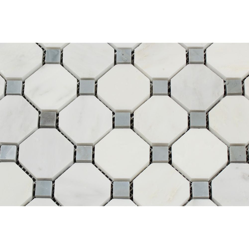 Oriental White Polished Marble Octagon Mosaic Tile W Blue Gray Dots
