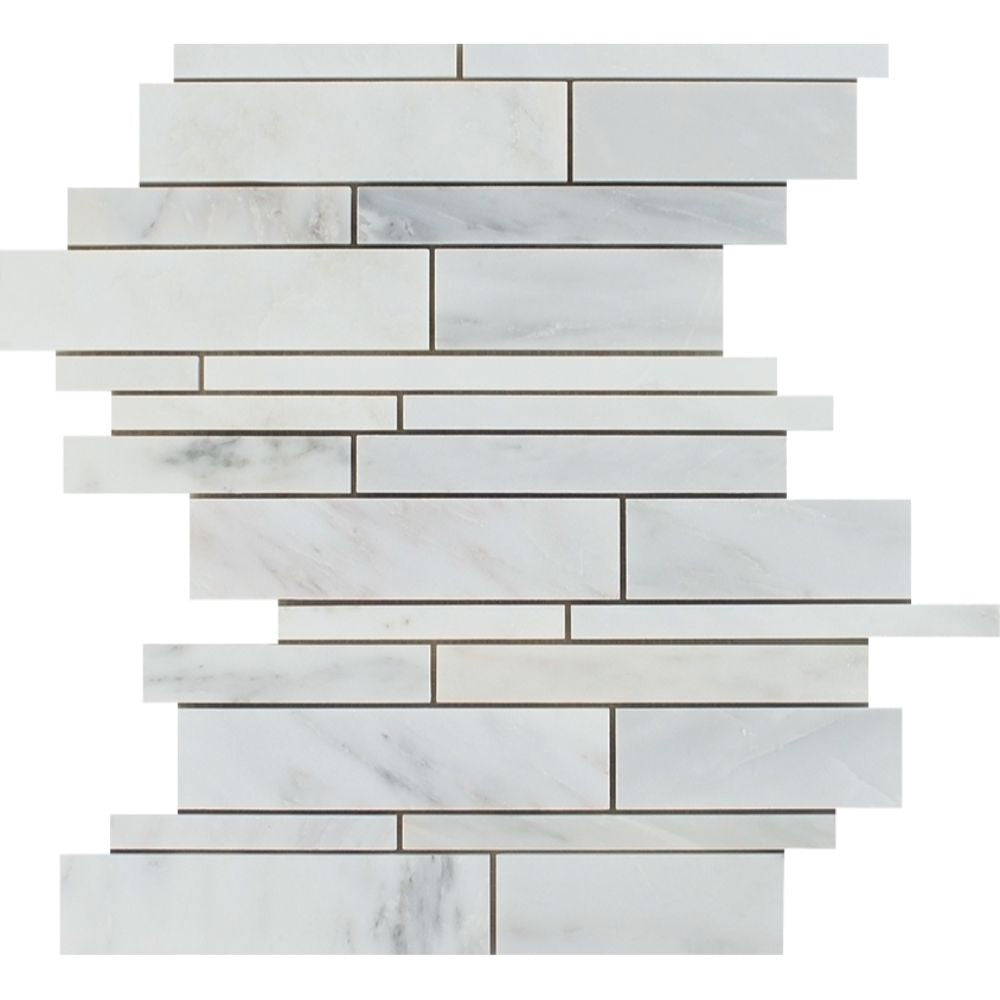 Oriental White Polished Marble Random Strip Mosaic Tile Sample - Tilephile