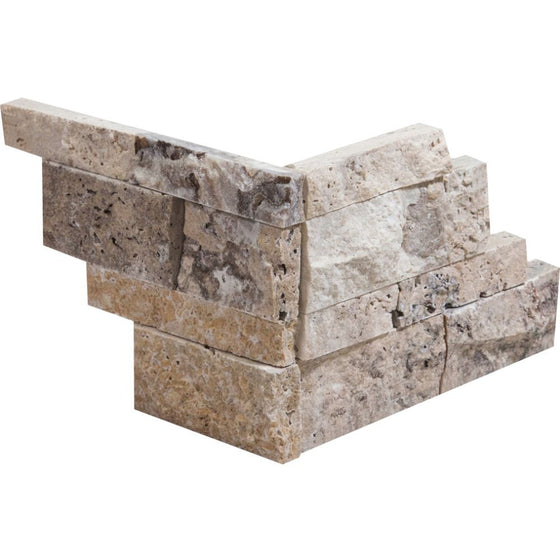 Philadelphia Split-faced Travertine Ledger Panel Corner - Tilephile