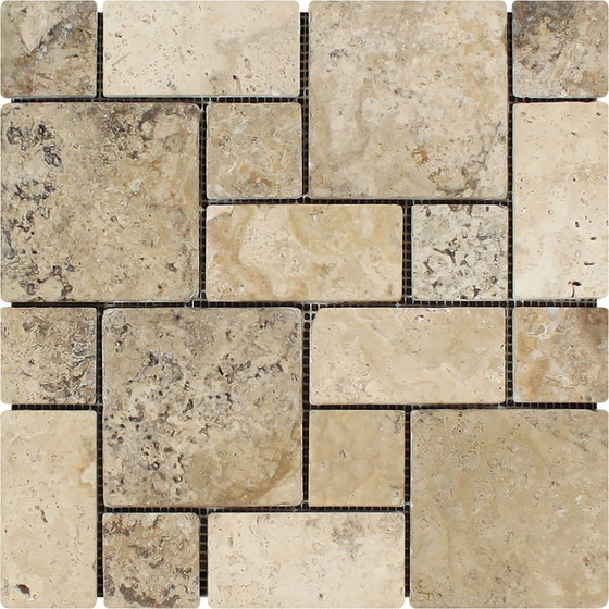 Philadelphia Tumbled Travertine Mini Pattern Mosaic Tile (Non-Interlocking) - Tilephile