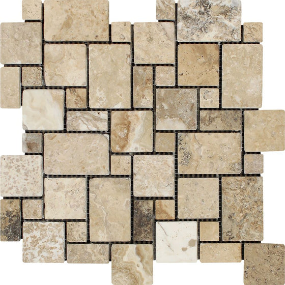 Philadelphia Tumbled Travertine Mini Versailles Pattern Mosaic Tile - Tilephile