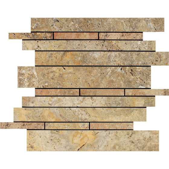 Scabos Honed Travertine Random Strip Mosaic Tile - Tilephile