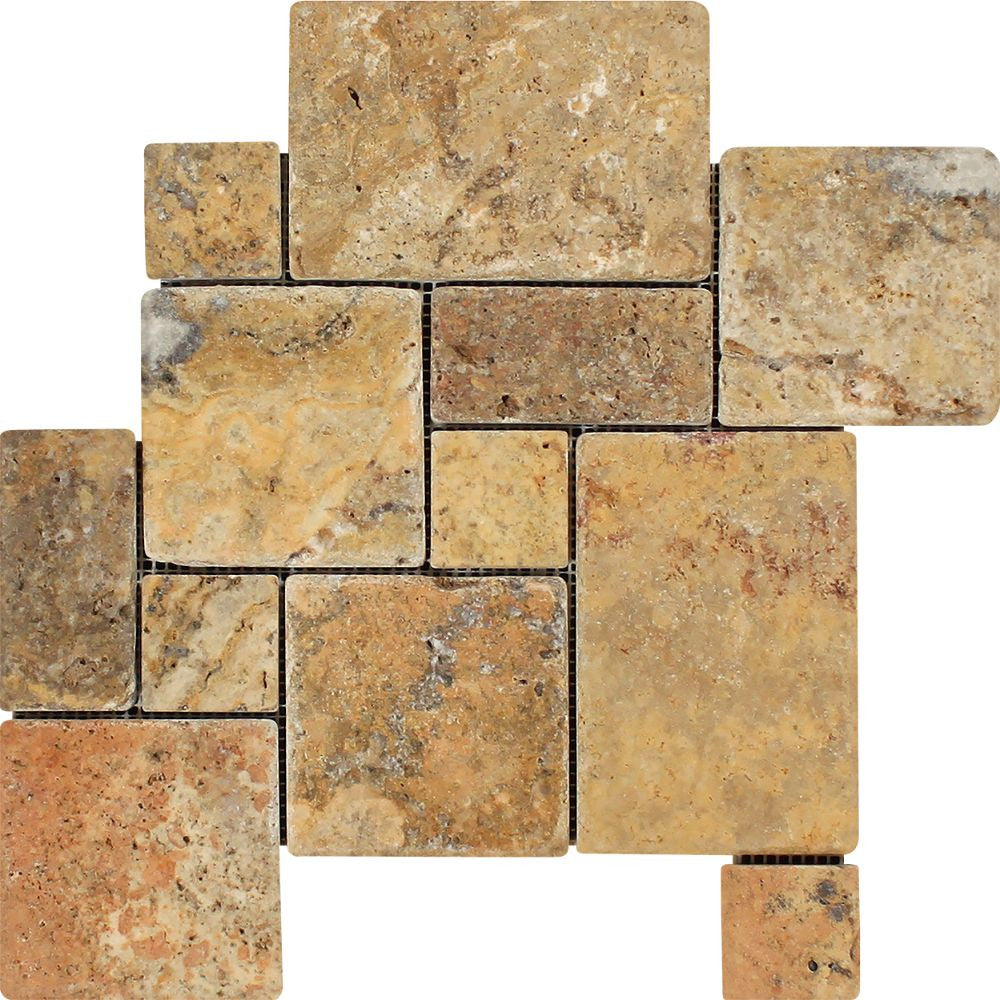Scabos Tumbled Travertine OPUS Mini Pattern Mosaic Tile (Interlocking) Sample - Tilephile