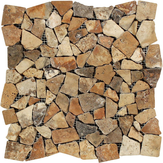Scabos Tumbled Travertine Random Broken Mosaic Tile - Tilephile