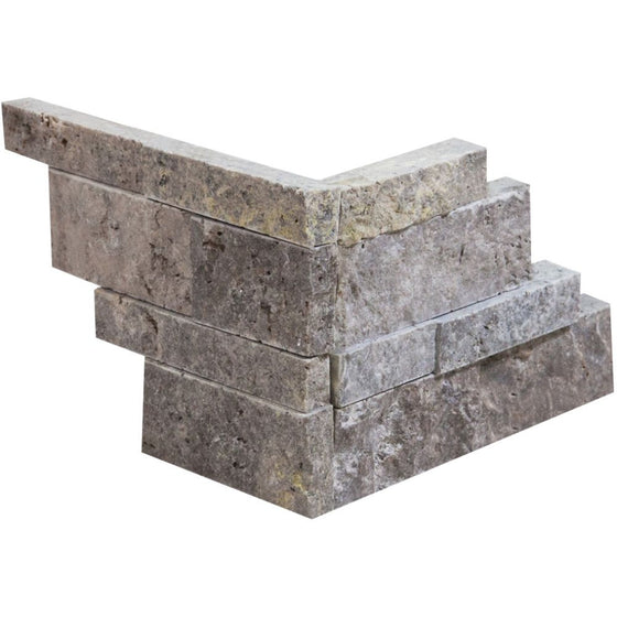 Silver Travertine Split-faced Ledger Panel Corner - Tilephile