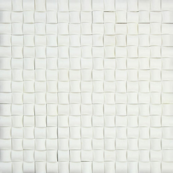 Thassos White Honed Marble 3-D Small Bread Mosaic Tile - Tilephile