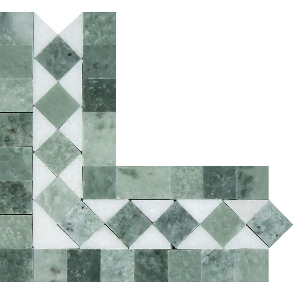 Thassos White Honed Marble BIAS Corner w/ Ming Green Dots Sample - Tilephile