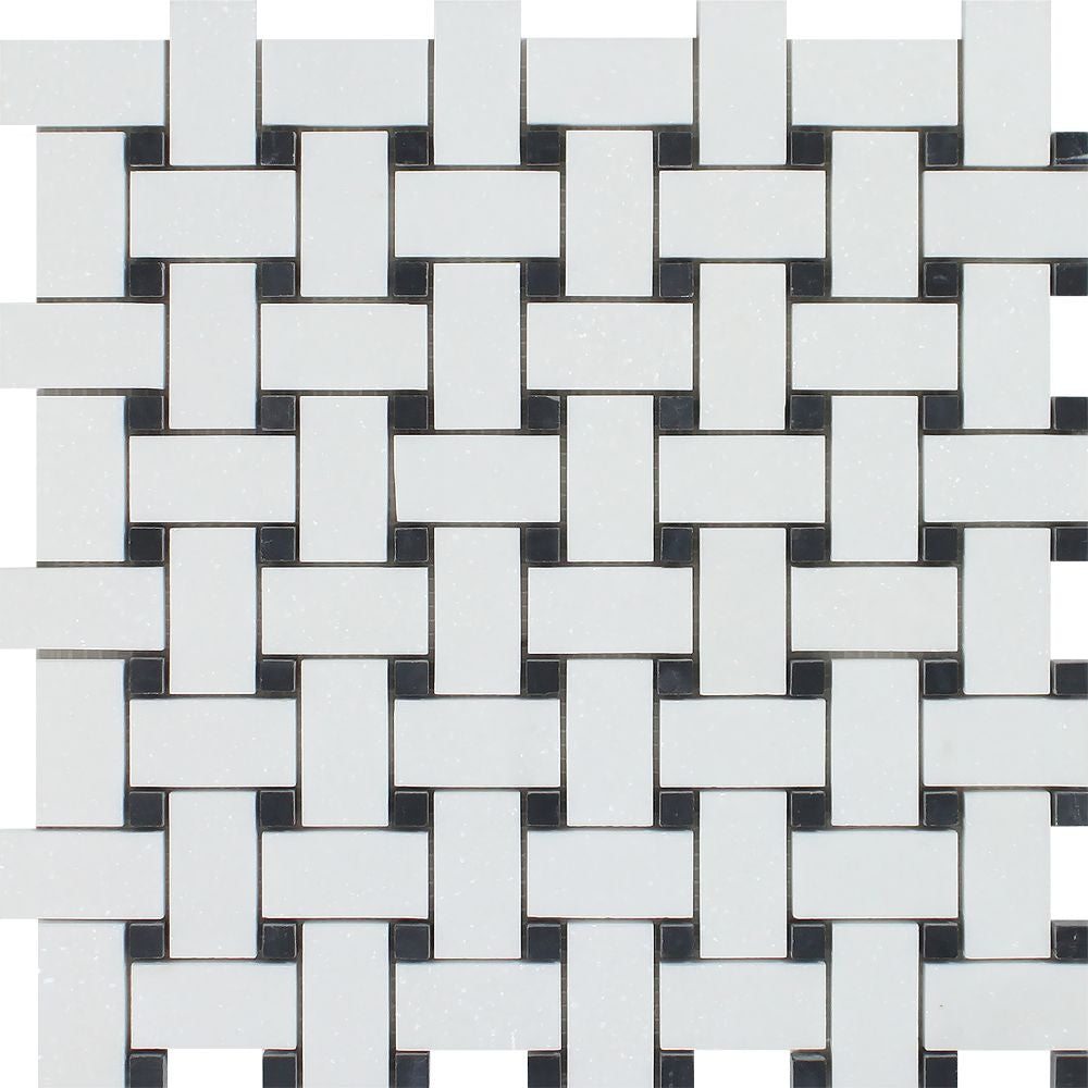 Thassos White Honed Marble Basketweave Mosaic Tile w/ Black Dots Sample - Tilephile