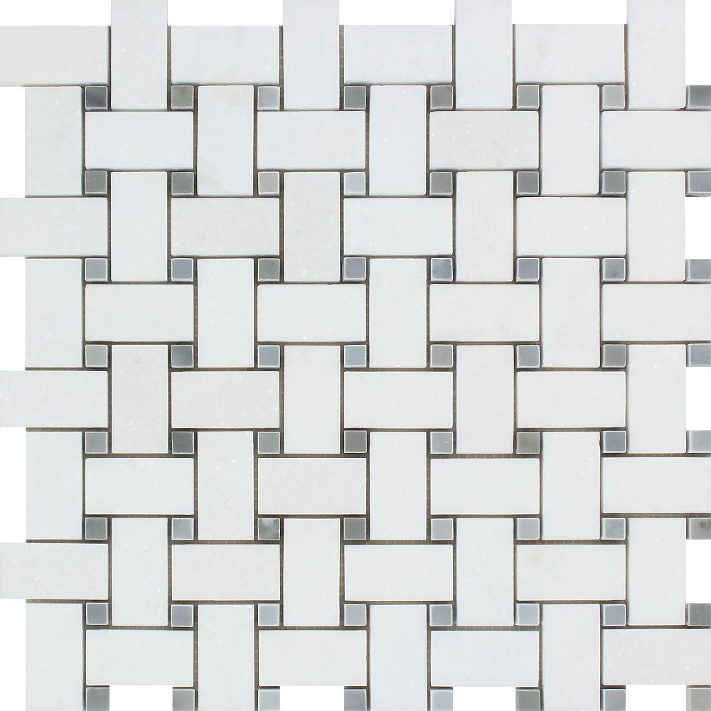 Thassos White Honed Marble Basketweave Mosaic Tile w/ Blue-Gray Dots Sample - Tilephile