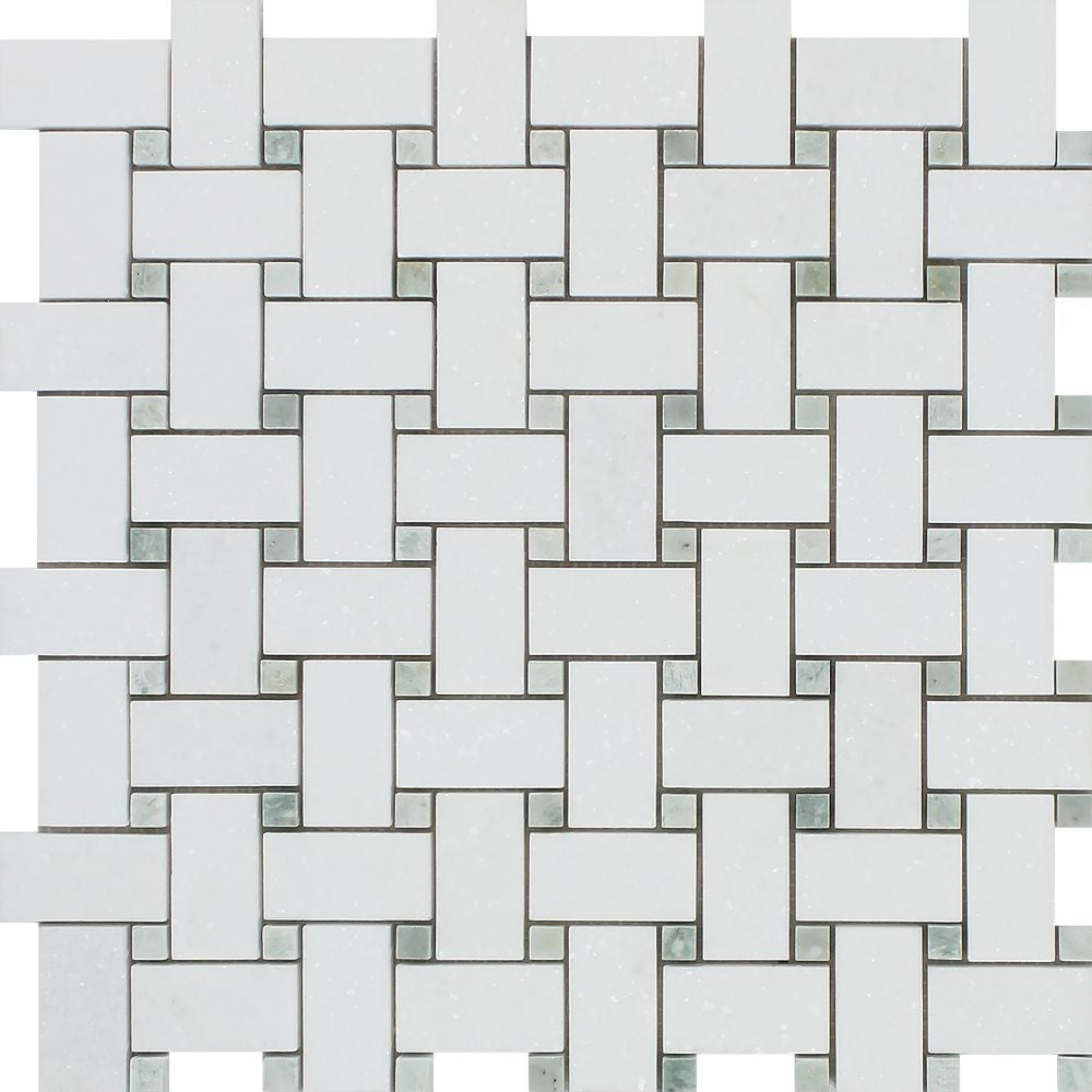Thassos White Honed Marble Basketweave Mosaic Tile w/ Ming Green Dots Sample - Tilephile