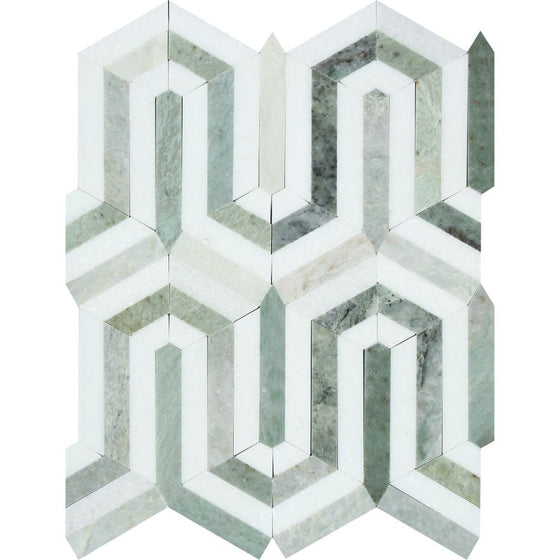 Thassos White Honed Marble Berlinetta Mosaic Tile (Thassos w/ Ming Green)