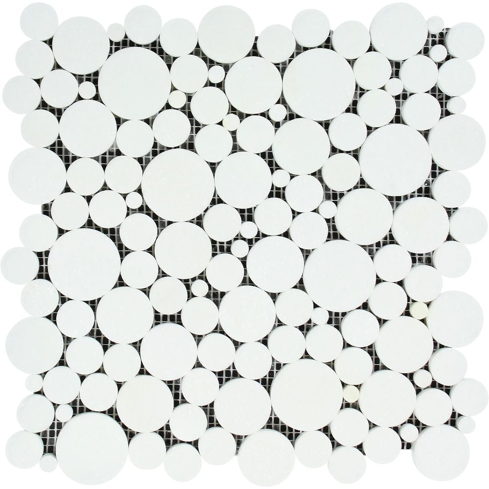 Thassos White Honed Marble Bubbles Mosaic Tile Sample - Tilephile