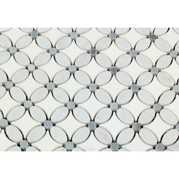 Thassos White Honed Marble Florida Flower Mosaic Tile