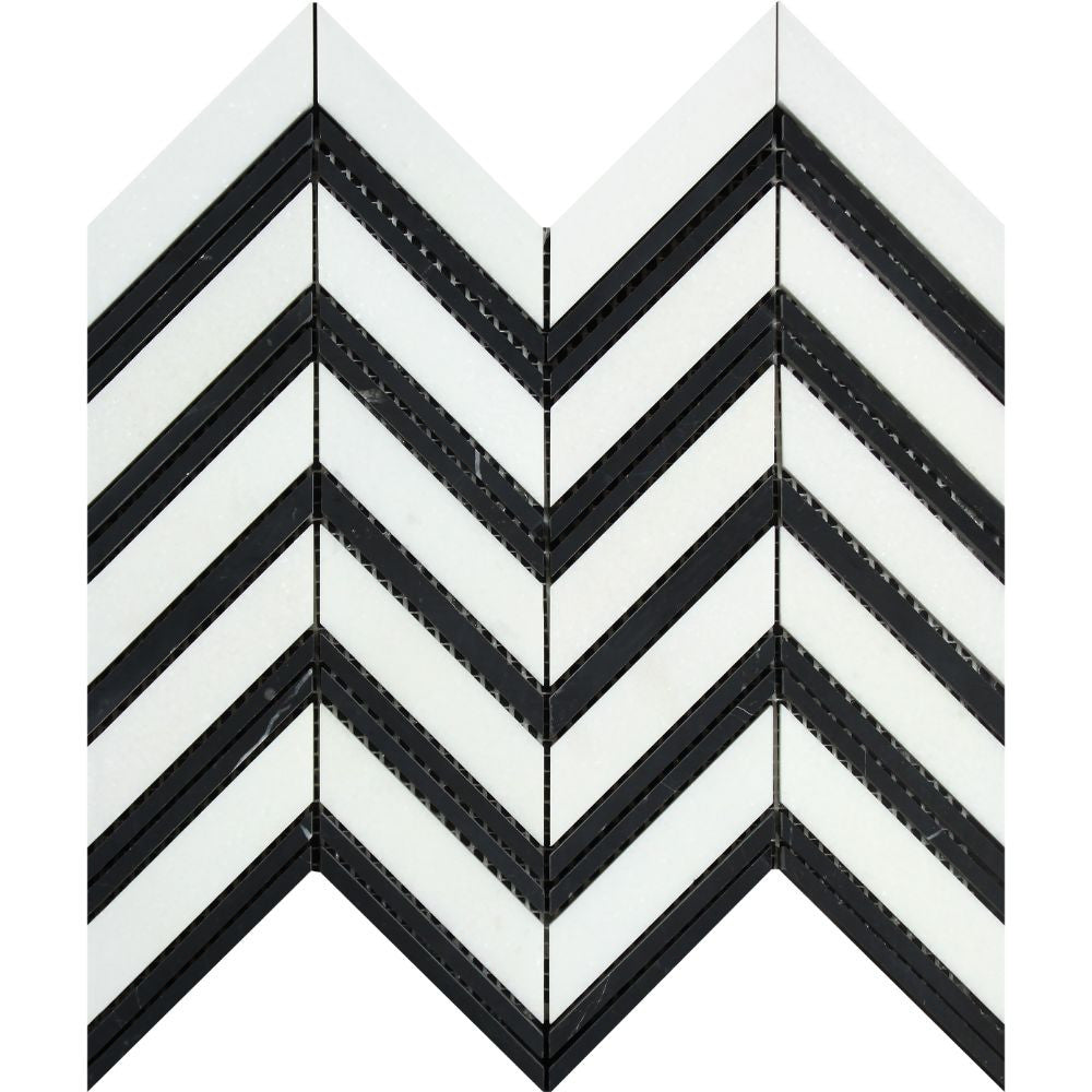 Thassos White Honed Marble Large Chevron Mosaic Tile (Thassos + Black (Thin Strips)) Sample - Tilephile