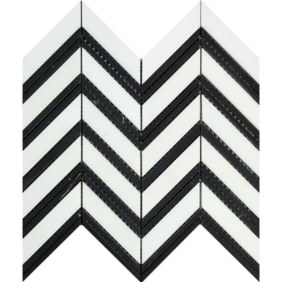 Thassos White Honed Marble Large Chevron Mosaic Tile (Thassos + Black (Thin Strips)) - Tilephile
