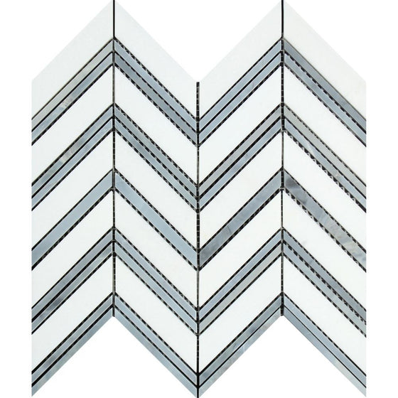 Thassos White Honed Marble Large Chevron Mosaic Tile (Thassos + Blue-Gray (Thin Strips)) - Tilephile