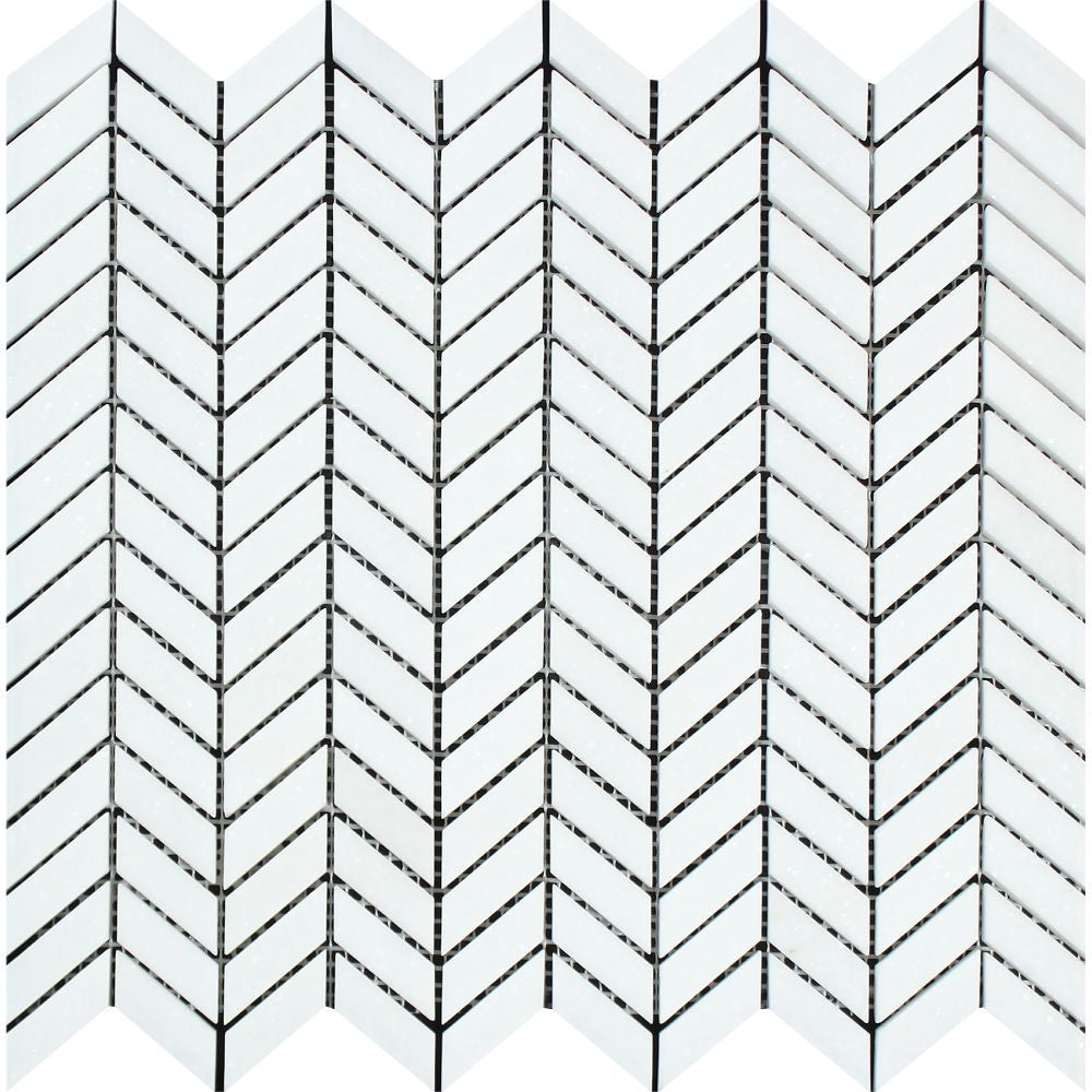 Thassos White Honed Marble Mini Chevron Mosaic Tile Sample - Tilephile