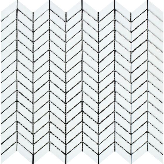 Thassos White Honed Marble Mini Chevron Mosaic Tile - Tilephile