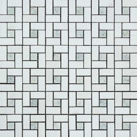Thassos White Honed Marble Mini Pinwheel Mosaic Tile w/ Ming Green Dots