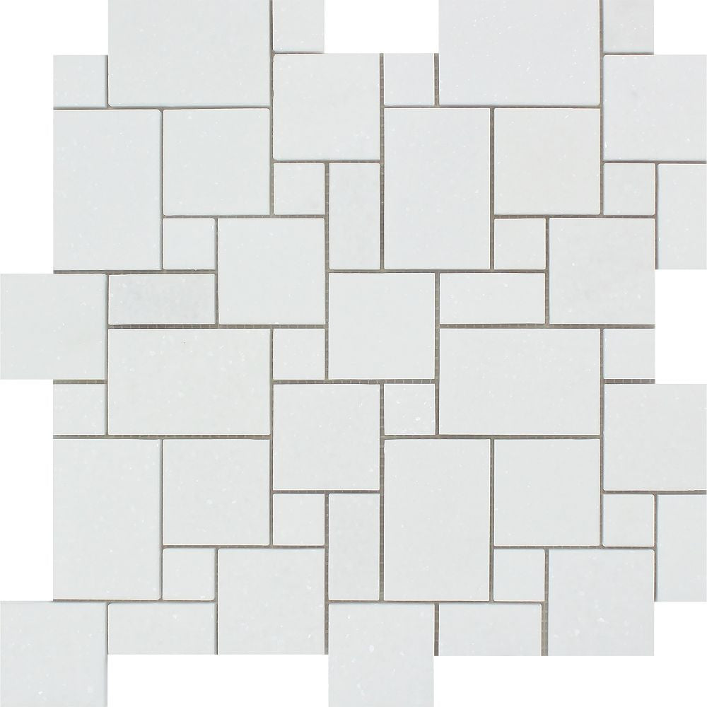 Thassos White Honed Marble Mini Versailles Pattern Mosaic Tile Sample - Tilephile