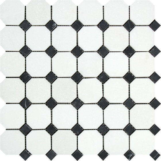 Thassos White Honed Marble Octagon Mosaic Tile w/ Black Dots - Tilephile