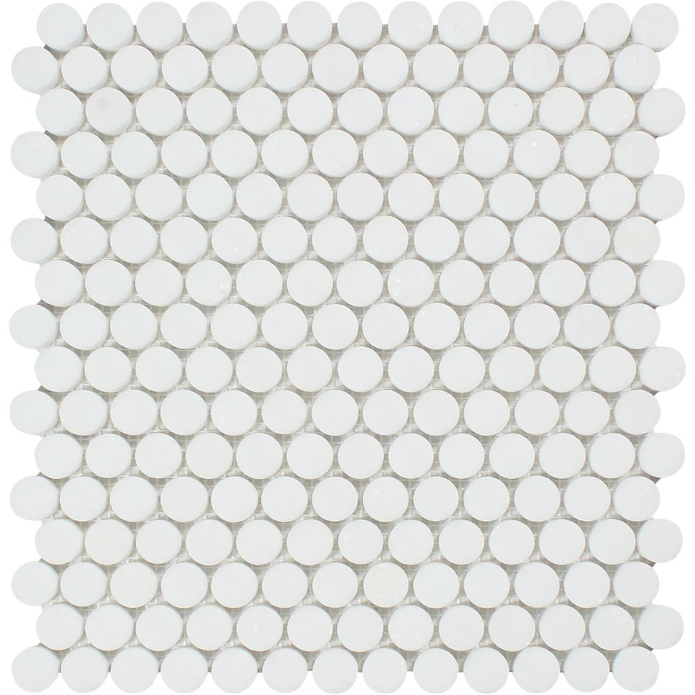 Thassos White Honed Marble Penny Round Mosaic Tile Sample - Tilephile