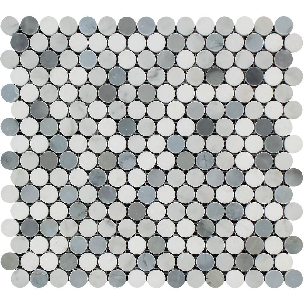 Sample Carrara White Marble Gray Glass Linear Mosaic: Thassos White Honed Marble Penny Round Mosaic Tile