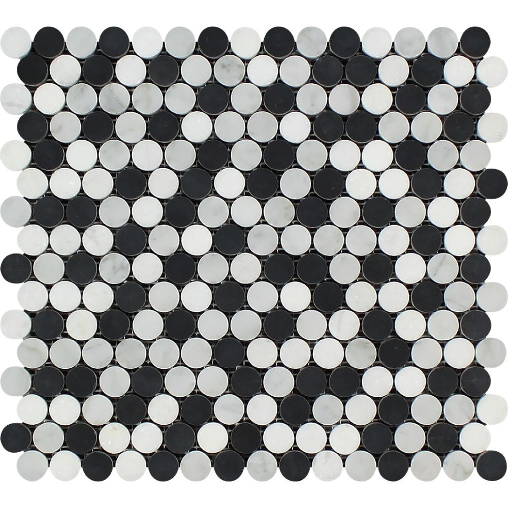 Thassos White Honed Marble Penny Round Mosaic Tile (Thassos + Carrara + Black) Sample - Tilephile